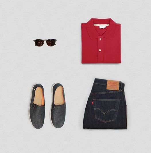 #SunspelStyleEdit: Stand out with a bold red polo and classic Levis 501.