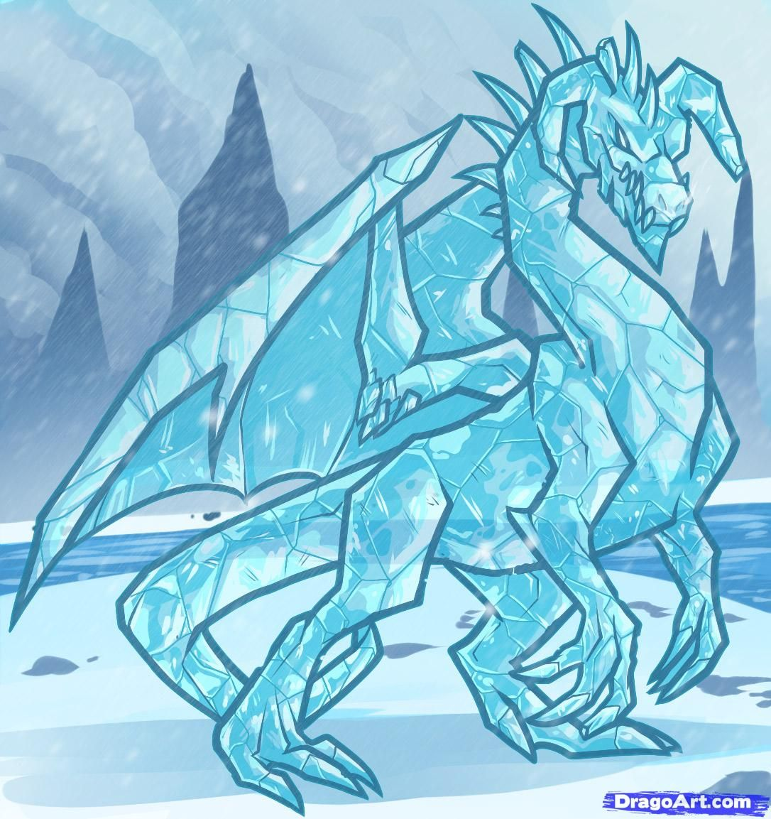 How To Draw An Ice Dragon, Ice Dragon, Step By Step, Dragons,
