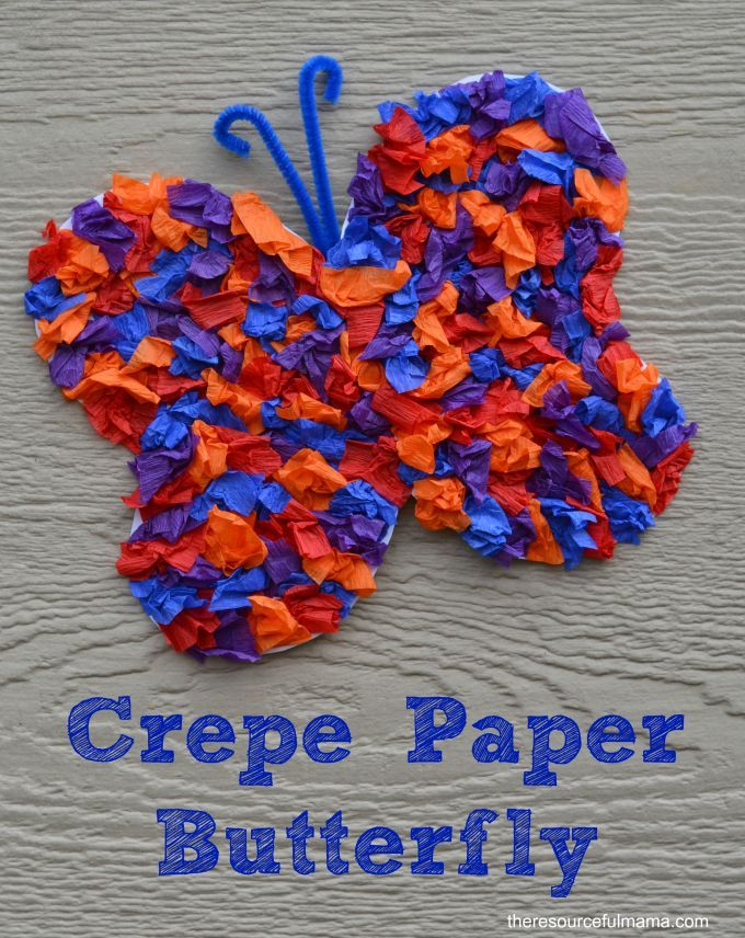 Hobby Craft Ideas Kids Part - 50: Crepe Paper Butterfly Craft For Kids