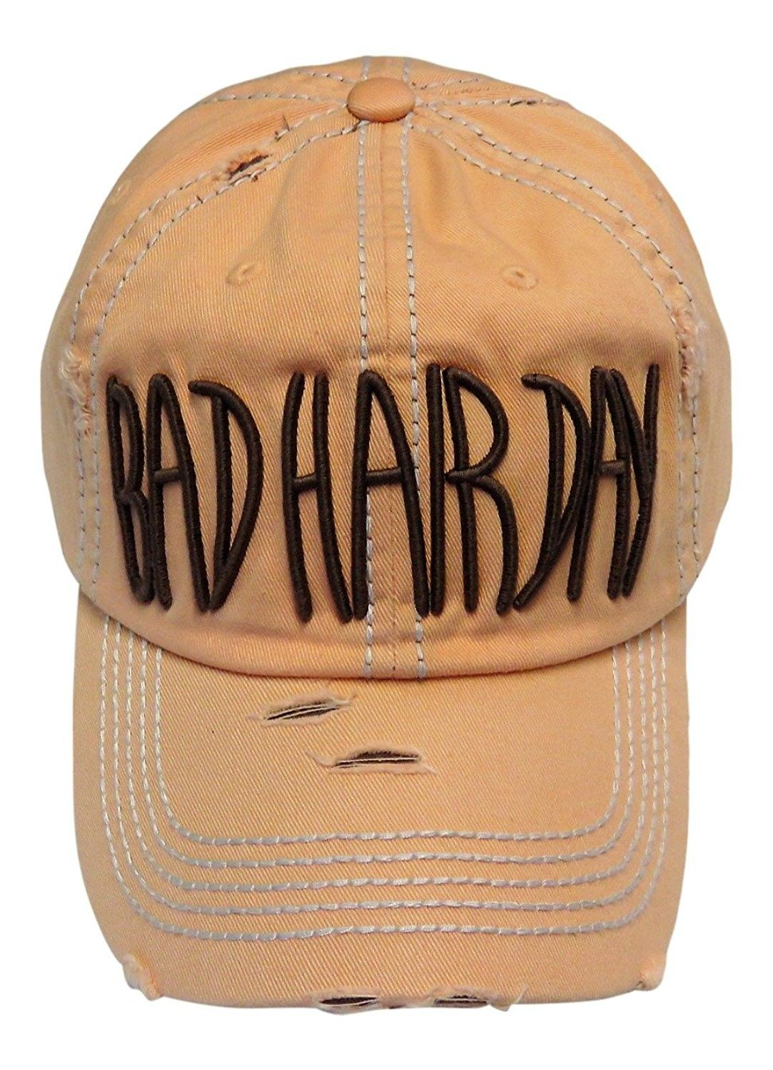 e5f522ae Embroidered Bad Hair Day Washed Vintage Baseball Cap Hat - Peach -  CH185M9Z547 - Hats & Caps, Women's Hats & Caps, Baseball Caps #hats #caps  #style ...