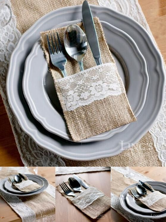[Visit to Buy] 1pcs Hessian Burlap Lace Wedding Tableware Pouch Cutlery Holder Decoration Favor rustic wedding decor vintage wedding decoration #Advertisement