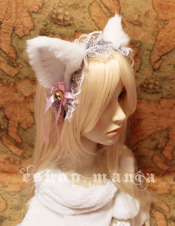 White CAT ears LOLITA maid lace HEADBAND kitty ears w pink ribbons u0026 bells long fur set Costume Cosplay Party on Etsy $25.01 CAD & White CAT ears LOLITA maid lace HEADBAND kitty ears w pink ribbons ...