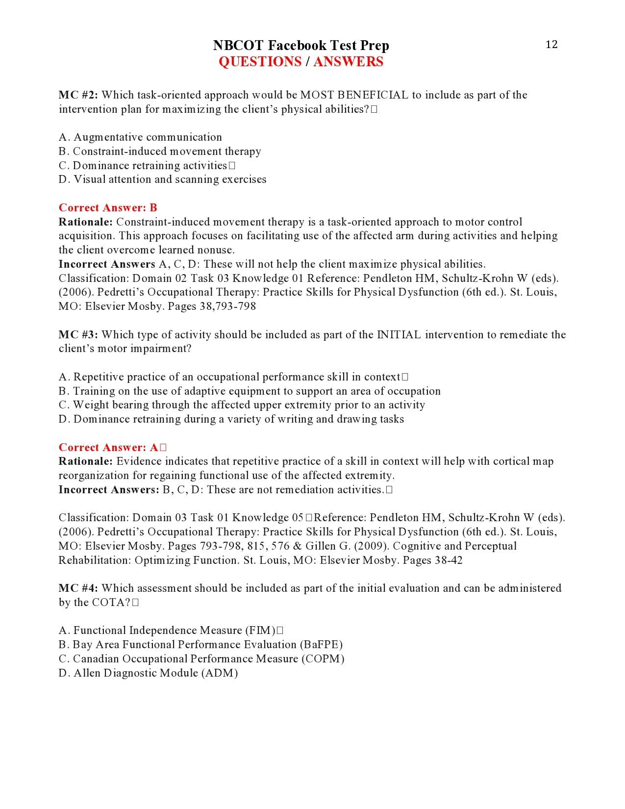 Nbcot Facebook Test Prep Questions  Answers Page   Nbcot Exam