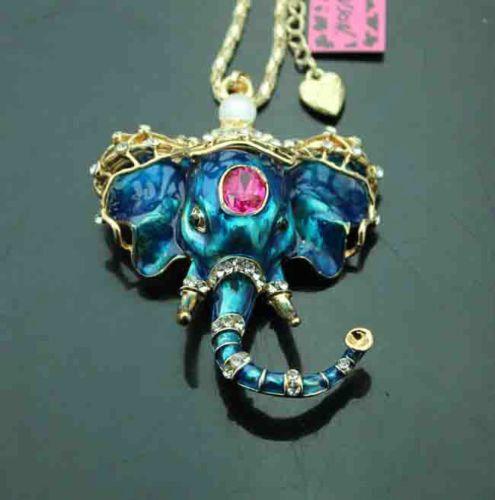 Betsey johnson crystal elephant head pendant sweater necklace blue betsey johnson crystal elephant head pendant sweater necklace blue by amsjewelryandnovelty on etsy aloadofball Image collections