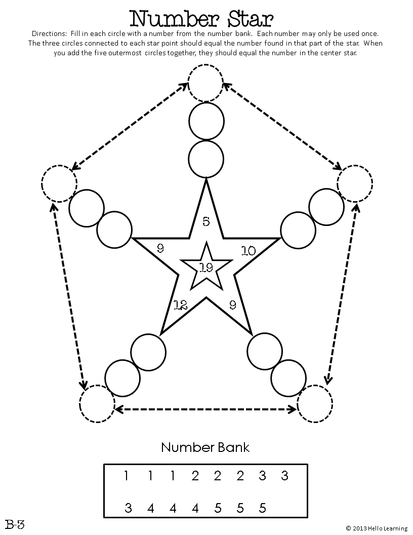 number star math puzzles