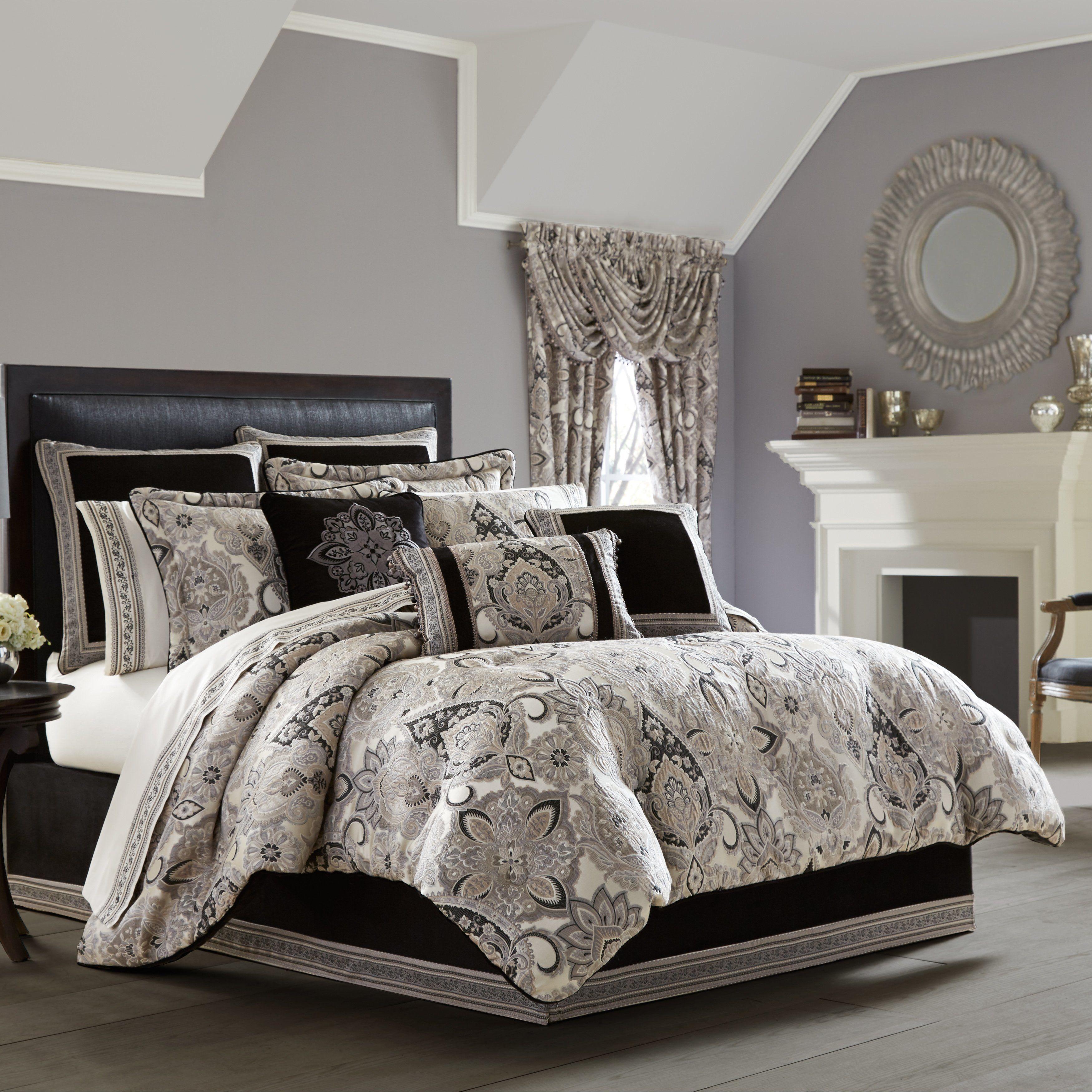 Guiliana Silver/Black 4Piece Comforter Set in 2020