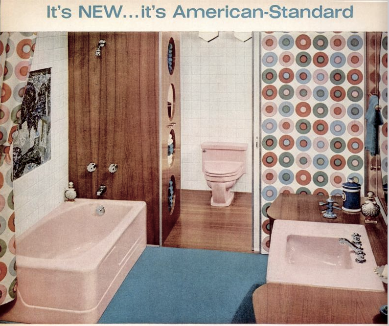 """For all of the pink bathroom lovers: American Standard ad (1960) """"Picture this beautiful bathroom in your home. Imagine stepping into the extra luxury and roominess of the new Contour bathtub with distinctive, off-center design. Just as eye-catching is the lavatory with big, gleaming top—roomy bowl—extra wide ledges and new non-tarnishing faucets. Add beauty and easy-to-clean convenience to your bathroom with quality products by American Standard."""""""