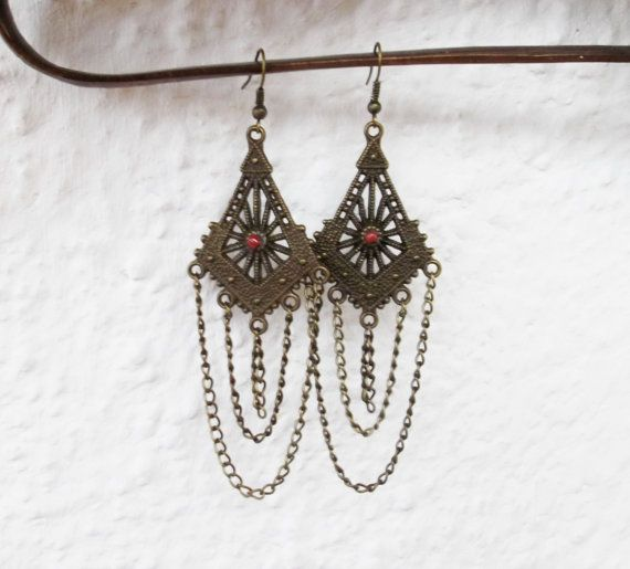 Long brass filigree ethnic chandelier earrings, brass, boho ...
