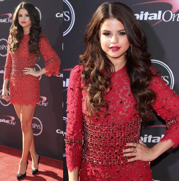 Selena Gomez Dazzles in a Red See-Through Dress and Casadei Heels