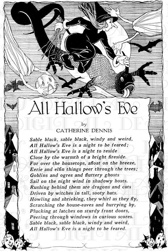 All Hallow S Eve Poem Vintage Digital Halloween Download Etsy In 2021 Halloween Downloads Halloween Poems Vintage Halloween Cards