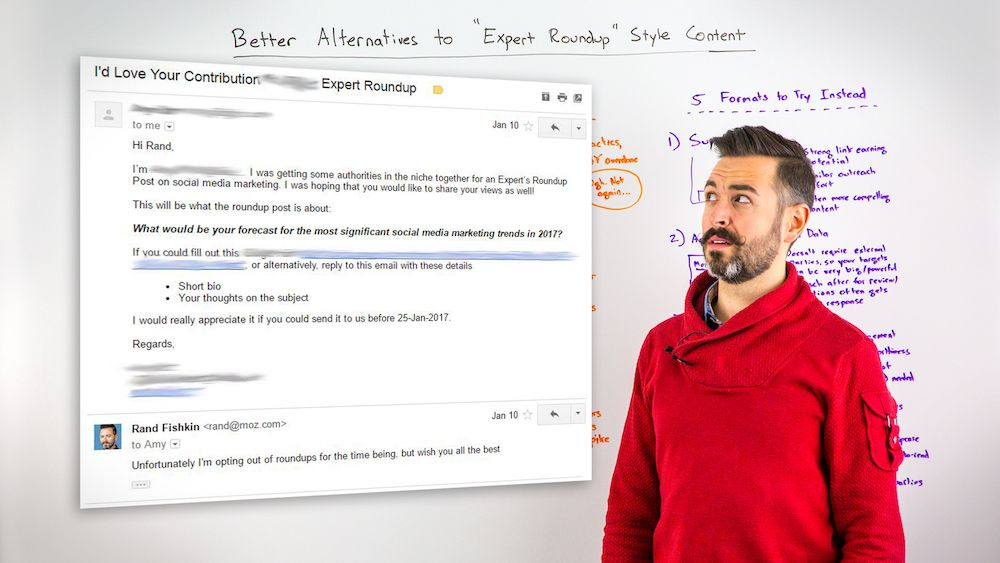 "Whiteboard Friday - Better Alternatives to ""Expert Roundup""-Style Content"