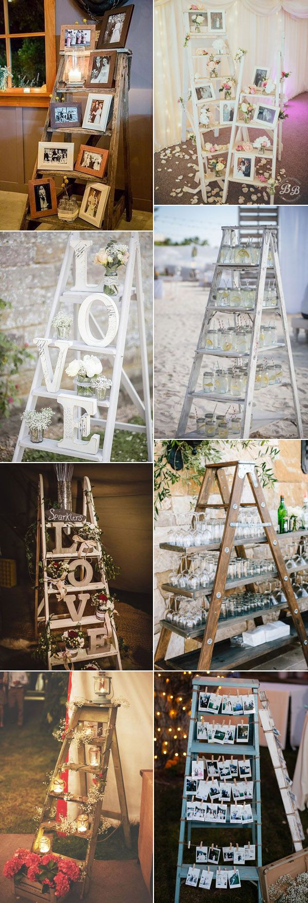 25 perfect wedding decoration ideas with vintage ladders wooden chic rustic wedding decoration ideas with wooden ladders diy rustic vintage country wedding decorations make photo stands using a wood ladder junglespirit Images
