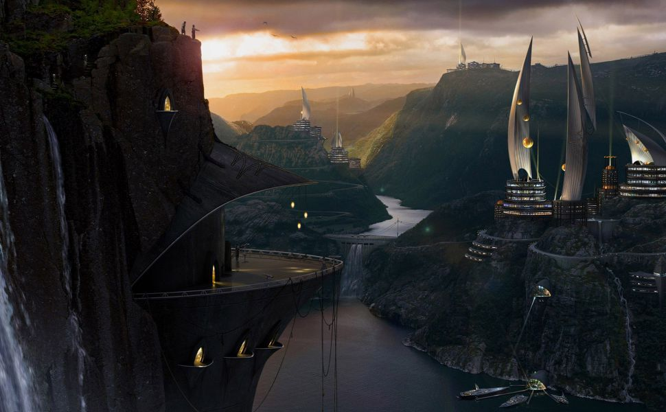 Futuristic City In The Valley HD Wallpaper
