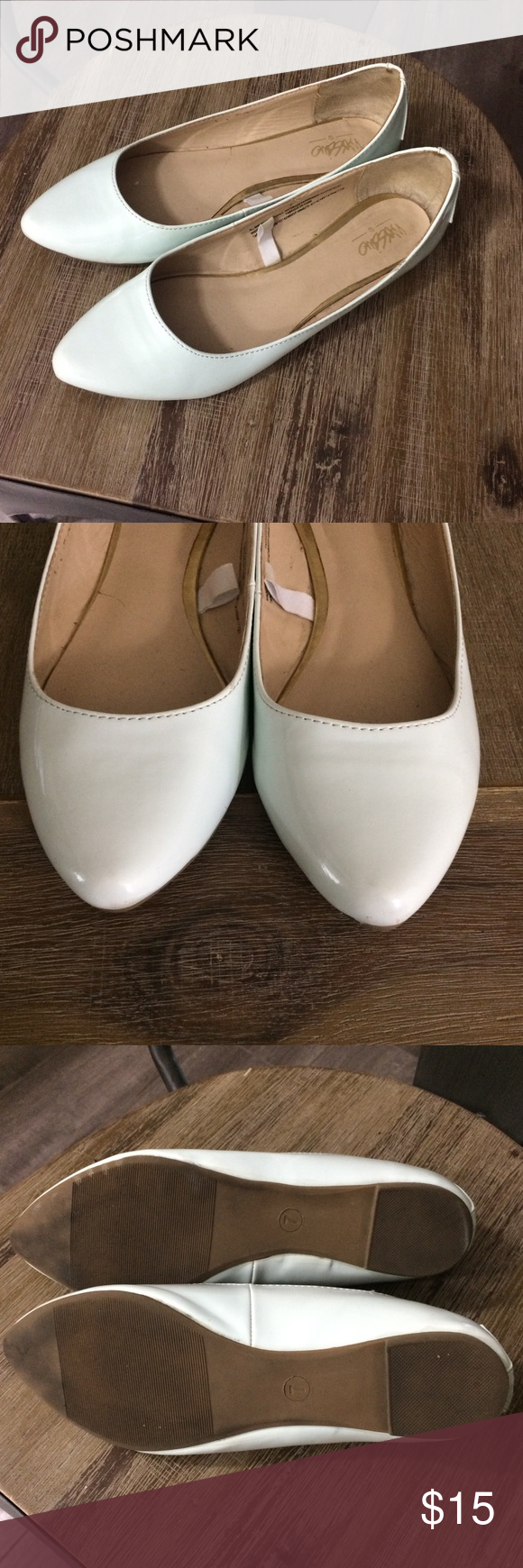 Missimo Mint shiny pointed flats size 7 Good used condition. Some wear. Mossimo Supply Co. Shoes Flats & Loafers