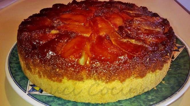 Torta invertida de manzanas fácil