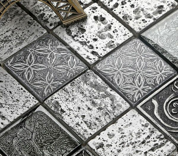 Decorative Floor Tiles Light Grey Cutting Stone Mosaic Tile Mixed Mirror Glass Home Decor