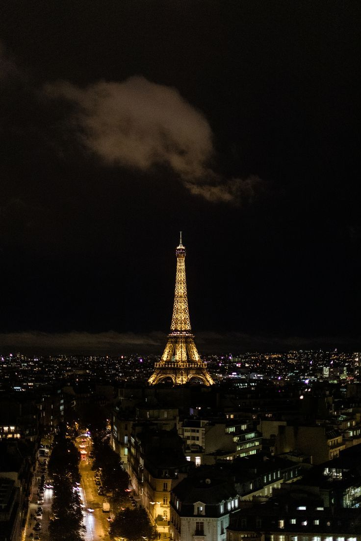 View of Eiffel Tower from the top of Arc de Triomphe in Paris at night | Whitney Hunt Photography