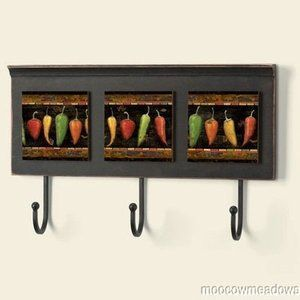 Chilli Pepper Kitchen Decor | CHILI PEPPER WALL PLAQUE W/ HOOKS Key Holder  COAT Rack