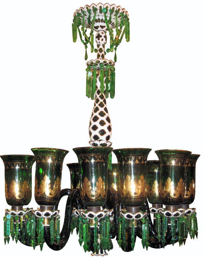 Antique Islamic Moghul Indian Market English Parcel Gilt Green Glass Chandelier