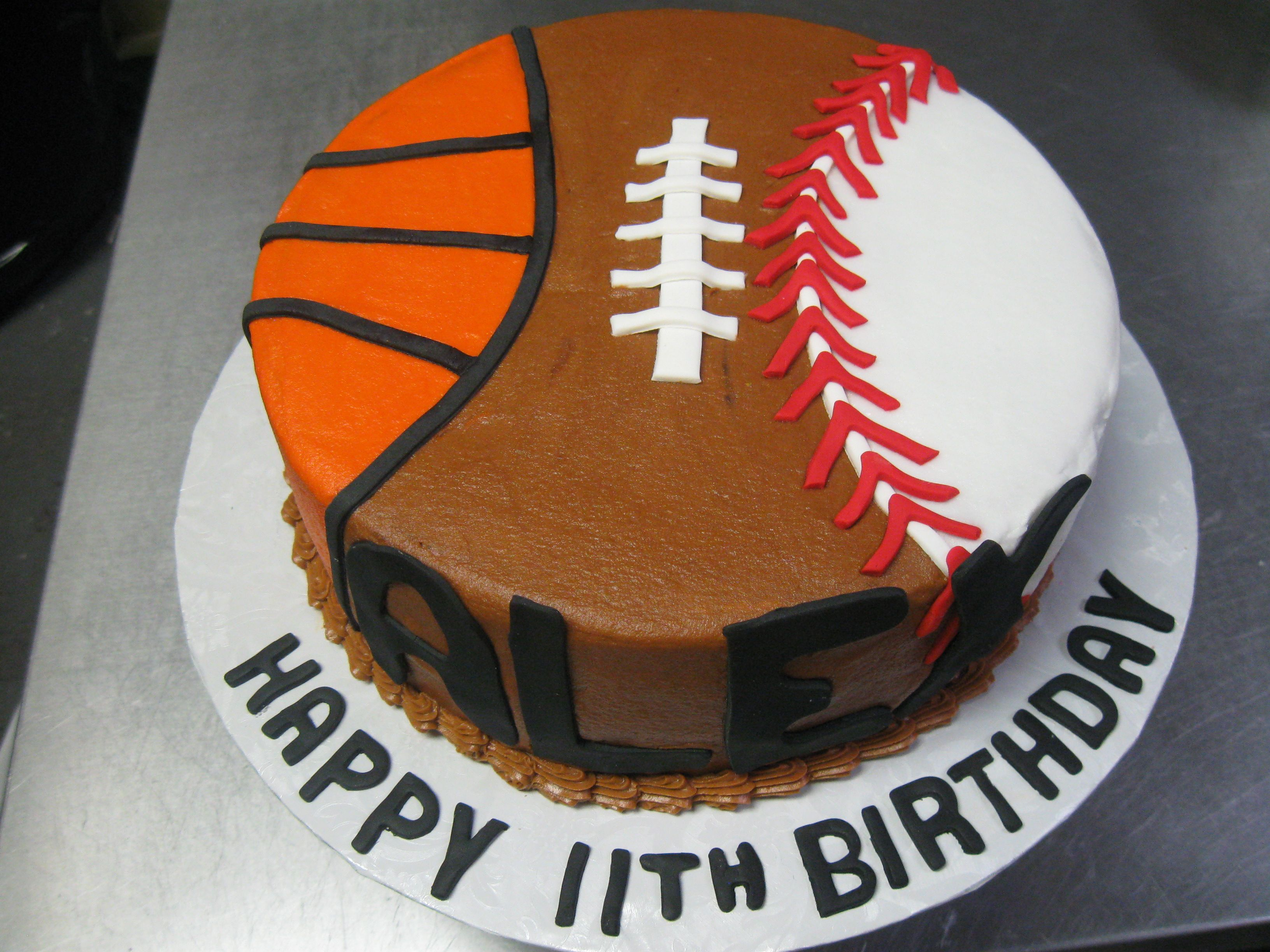 Peachy 3 Sport Themed Birthday Cake Football Basketball And Baseball Funny Birthday Cards Online Elaedamsfinfo