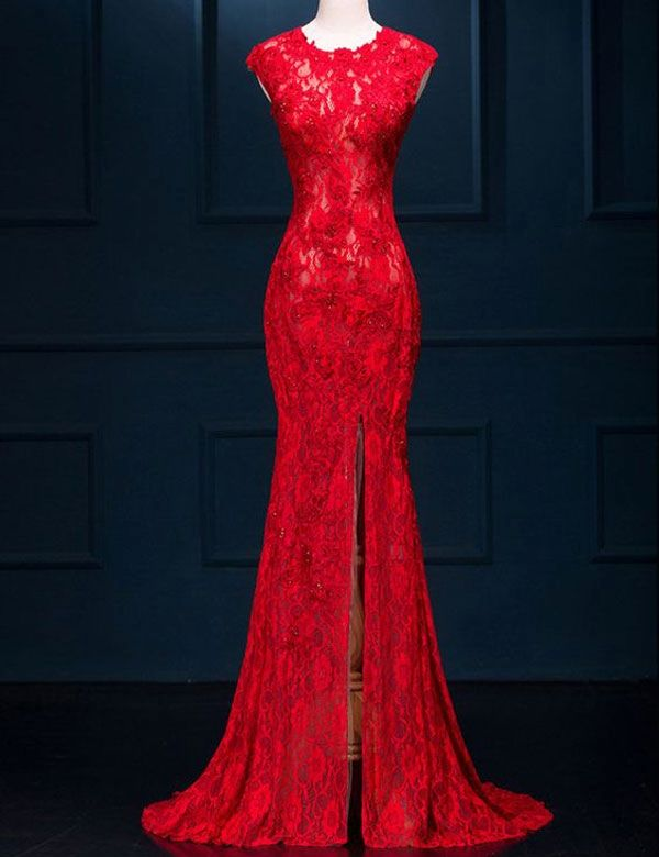 2017 New Arrival Sexy Long Prom Dresses Red