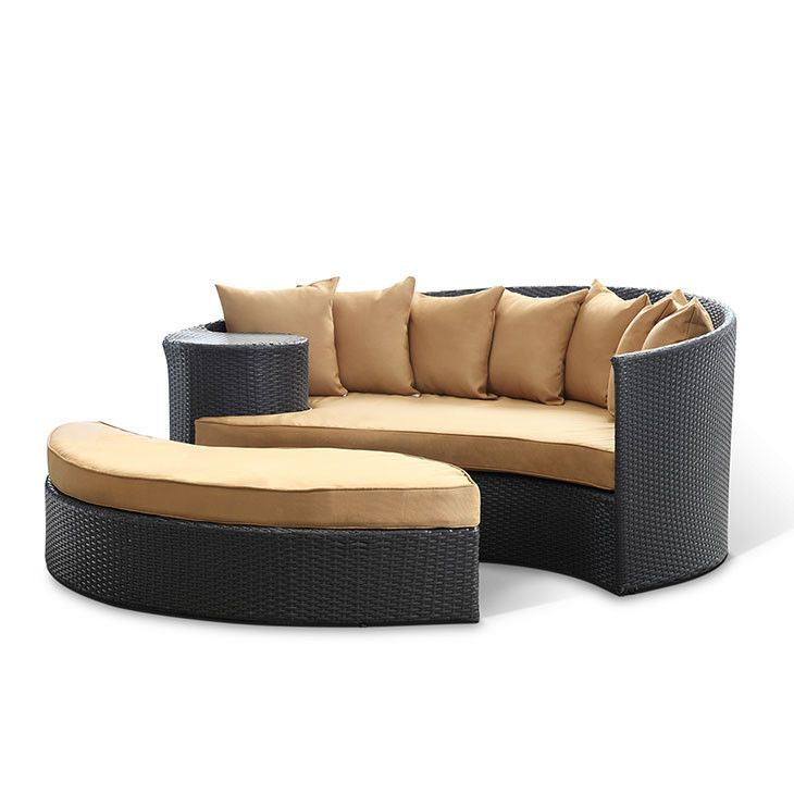 Tonga Outdoor Wicker Patio Daybed With Ottoman Espresso / Mocha