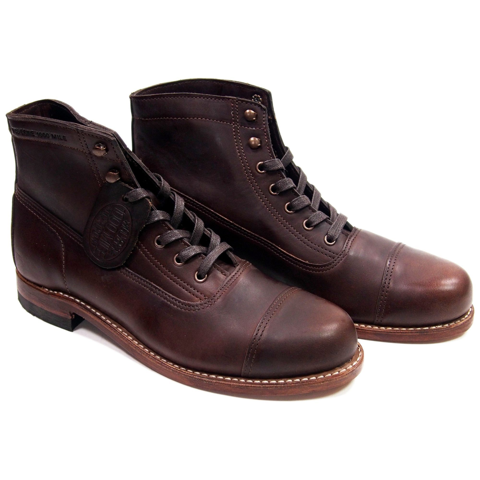 7995a3b9833 Wolverine Rockford 1000 Mile Cap Toe Boots - Brown - Made in USA ...