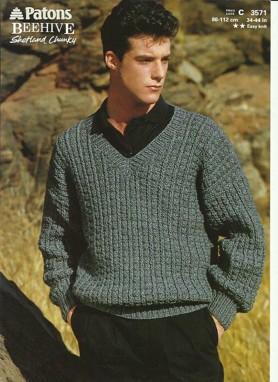 Mens V Neck Sweater Knitting Pattern From Prettydollsclothes On