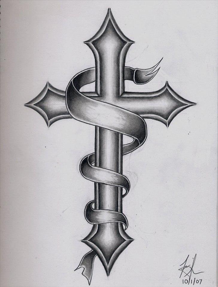 Black And Grey Cross With Ribbon Tattoo Design Tattoos Pinterest