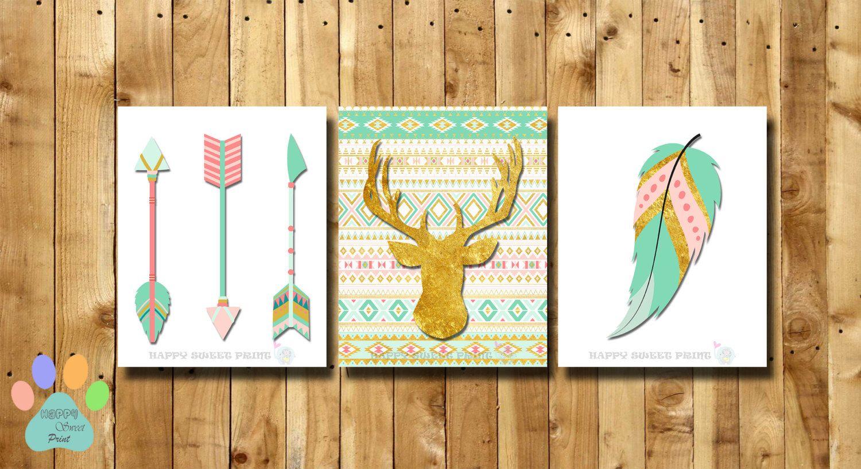 Woodland nursery prints,tribal arrows crib bedding and wall decor ...