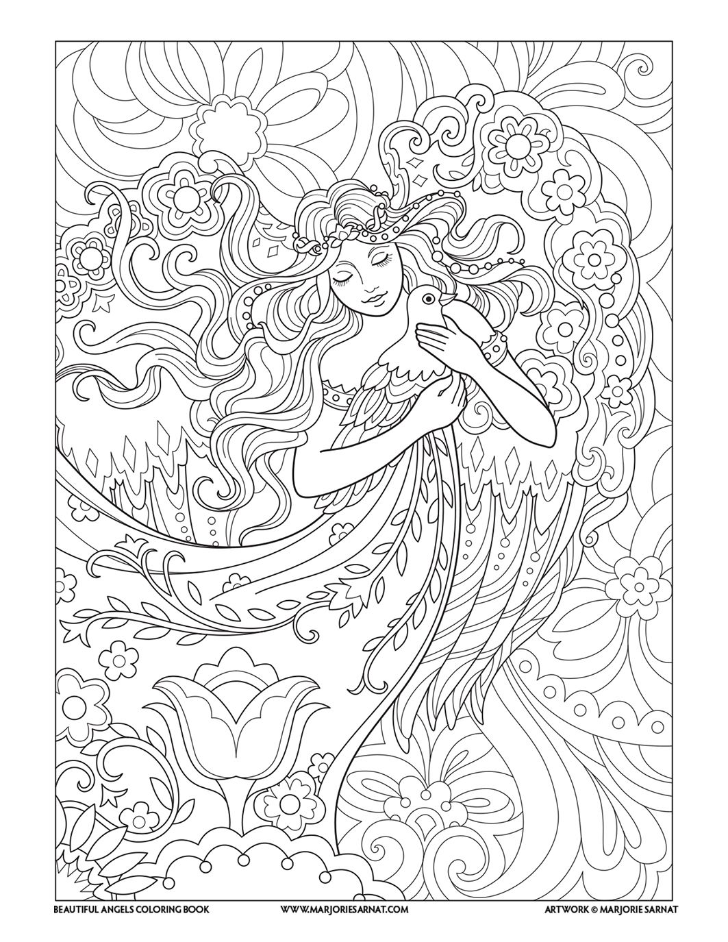 Angel With Dove Beautiful Angels Coloring Book Marjorie Sarnat Angel Coloring Pages Mermaid Coloring Pages Fairy Coloring Pages