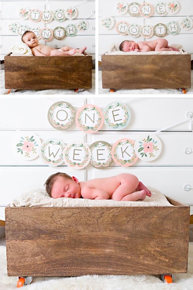 Scrapbook ideas baby milestones - 5 Unique And Easy Ideas For Your Baby S Monthly Milestone Photos That Go Beyond The Onesie Sticker