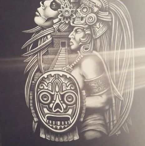 chicano arte aztec tattoos tattoo warrior mayan lowrider drawings azteca designs culture drawing mexican symbol maya face cultura latino pride