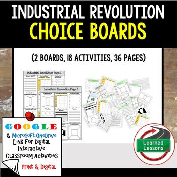 industrial revolution choice board activities paper and google industrial revolution choice board activities paper and google drive versions my store and