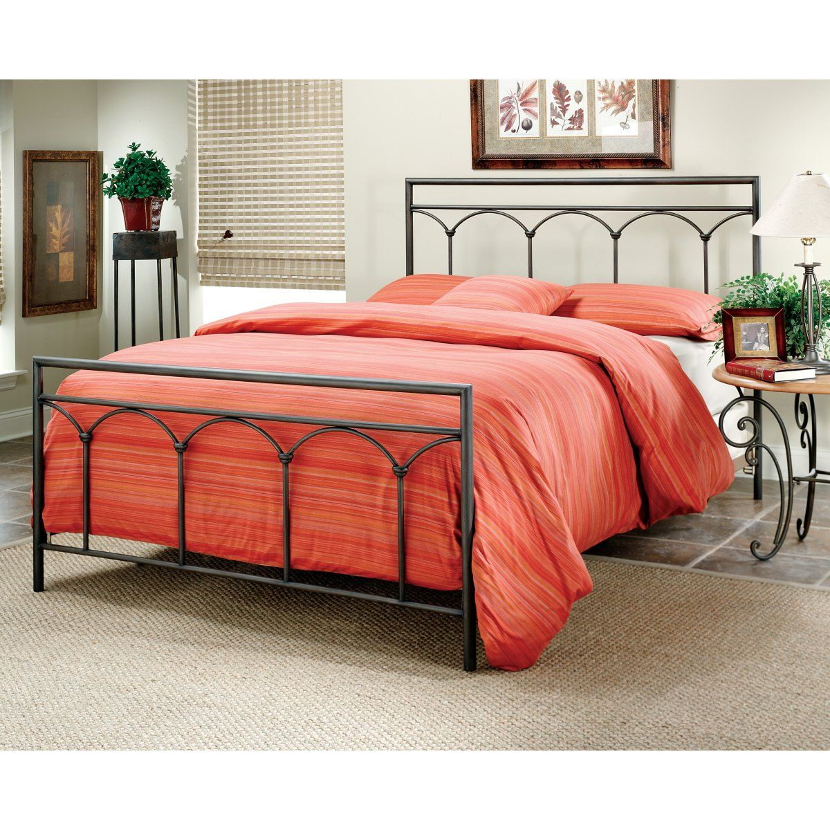 McKenzie Putty Brown Metal Bed Bed furniture, Hillsdale