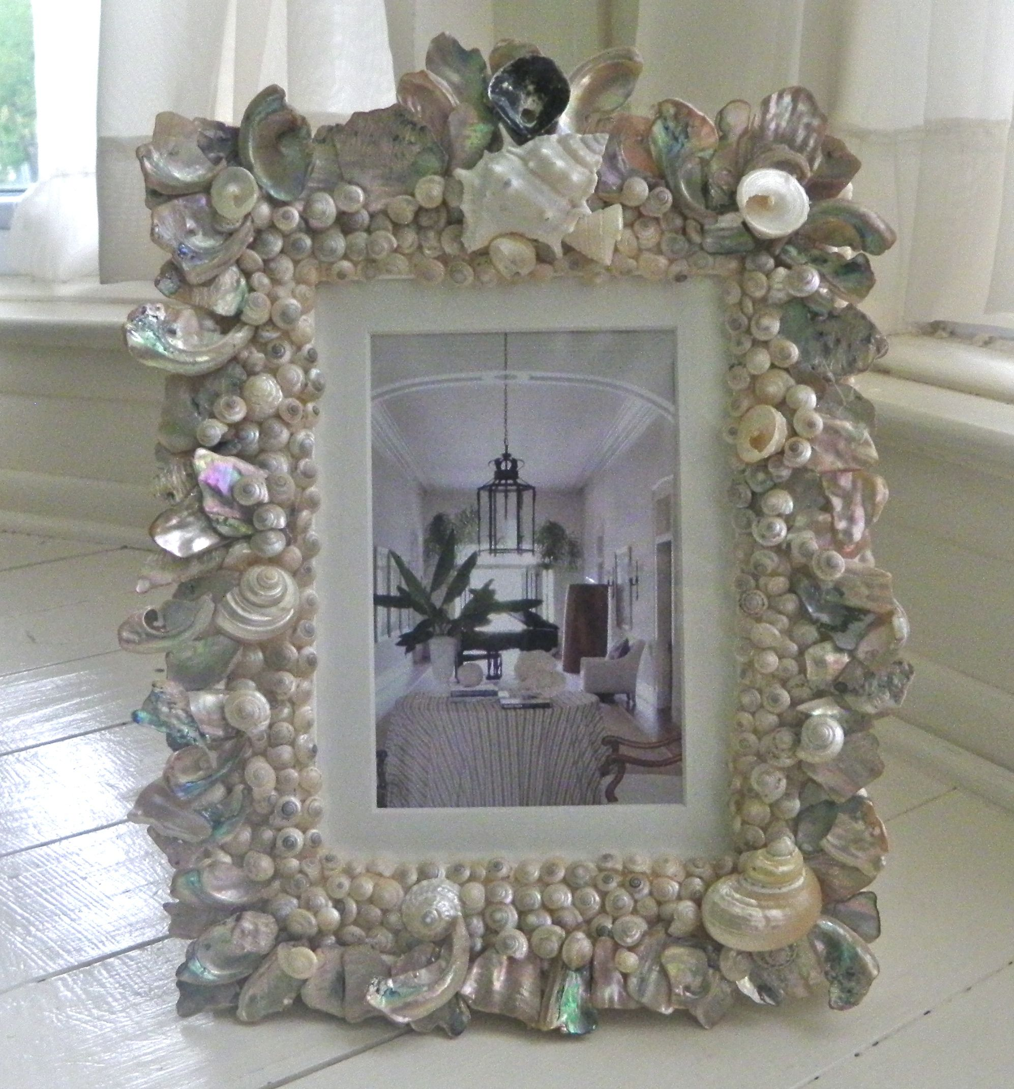 Seashell encrusted picture frame
