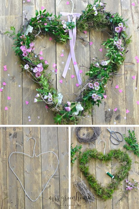 Photo of DIY delicate spring wreath from a wire hanger on Mrsgreenhouse.de