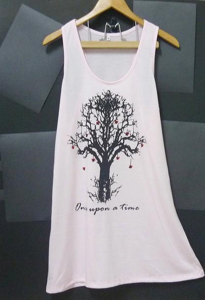 Tank top: tree tank top, long shirt, pink shirt, once upon a time shirt, women tank tops, tank top dress - Wheretoget tank top,  #long shirt -  tree tank top