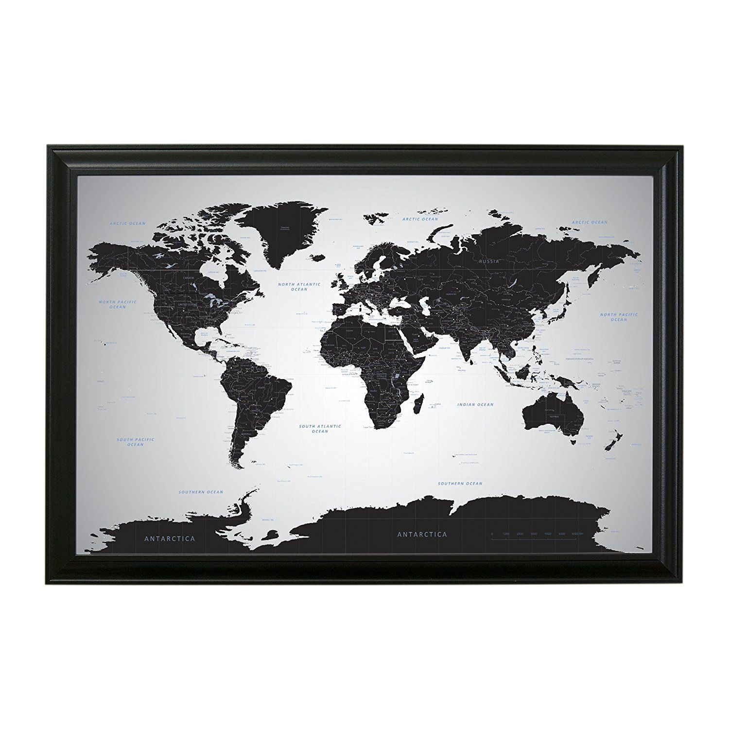 AmazonSmile: Black Ice World Push Pin Travel Map with pins - 24 x 36 ...