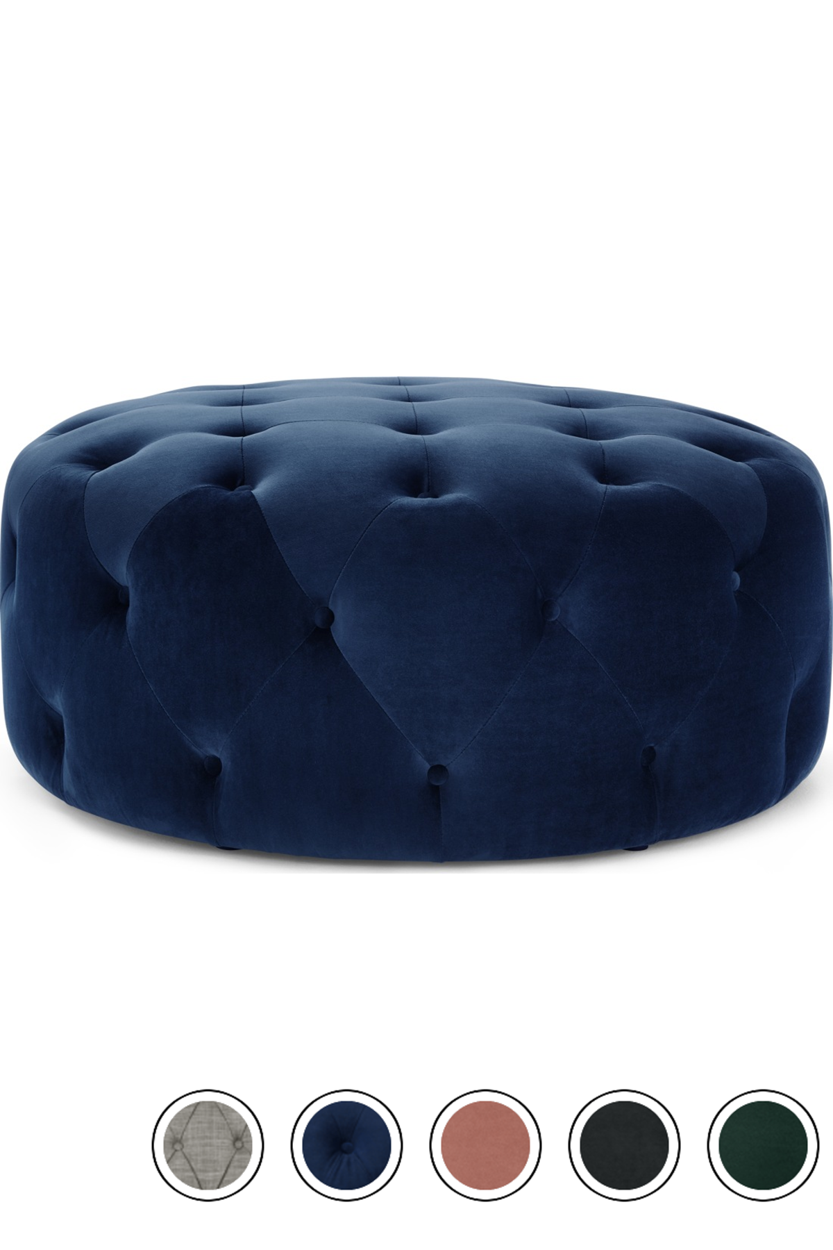Made Large Round Pouffe Velvet Electric Blue Hampton Pouffes Footstools Collection From Made Com Pouffe The Hamptons Electric Blue