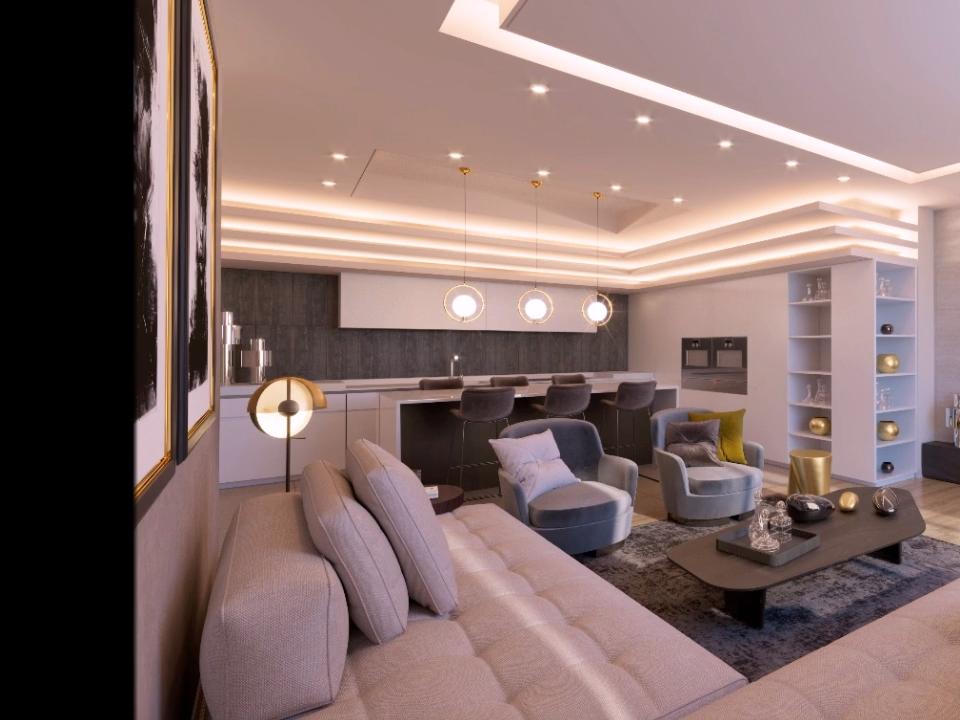 Modern minimalist apartment interior design in whi