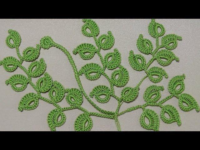 Урок вязания крючком. КАК ВЯЗАТЬ ВЕТОЧКУ ЛИСТИКОВ.Ирландское кружево. Irish lace. - Crochet Niffler #irishlacecrochetpattern