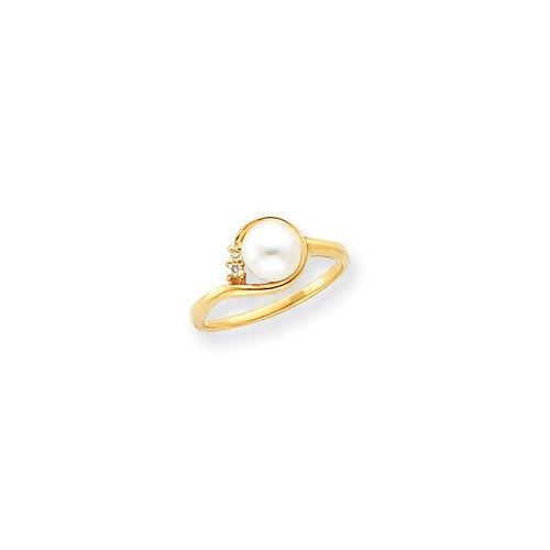 14k 6mm FW Cultured Pearl VS Diamond ring