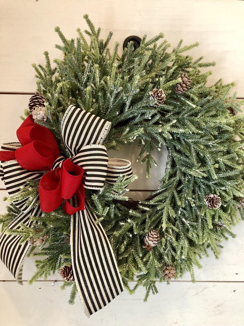 Photo of Rustic pine christmas wreath, christmas door wreath, christmas wreath, holiday wreath, pine wreath, farmhouse christmas wreath, wreath