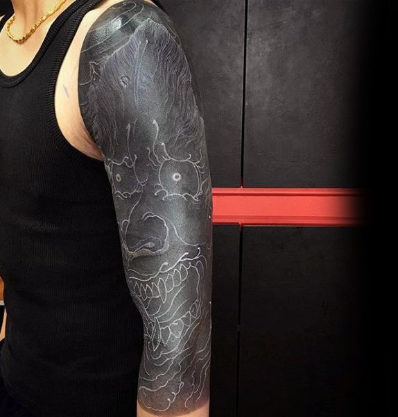 75 Black And White Tattoos For Men Masculine Ink Designs Black White Tattoos White Tattoo White Over Black Tattoo