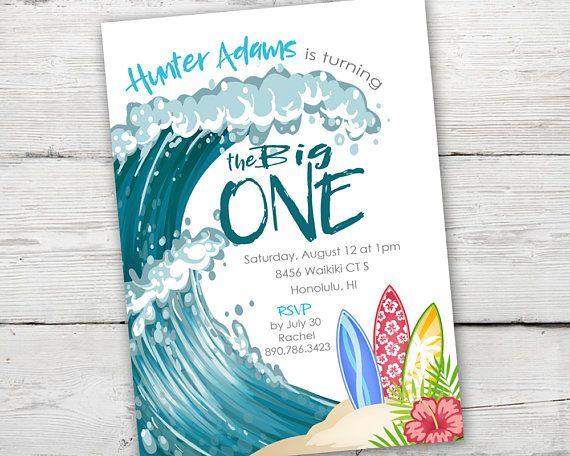 the big one invitation surfs up birthday invitation printable