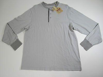Cremieux Premium Denim Mens LT Grey Long Sleeve Distressed Henley Shirt Large