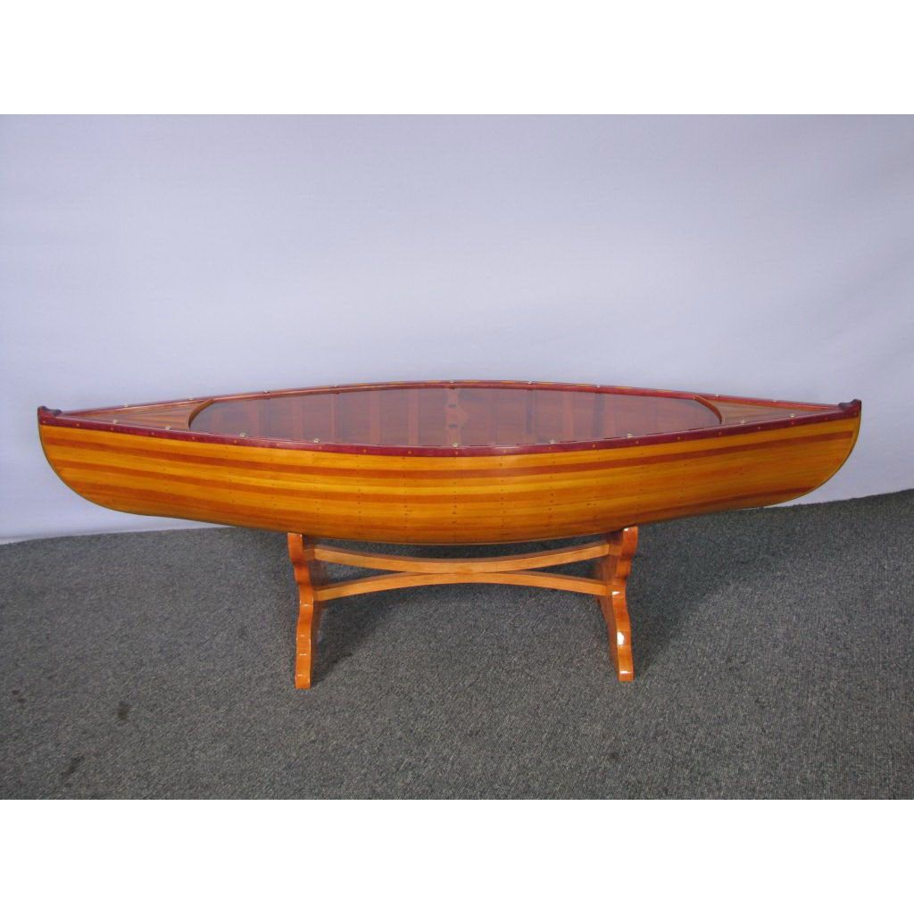 Old Modern Handicrafts K073 5 Canoe Table Model Ship In Brown