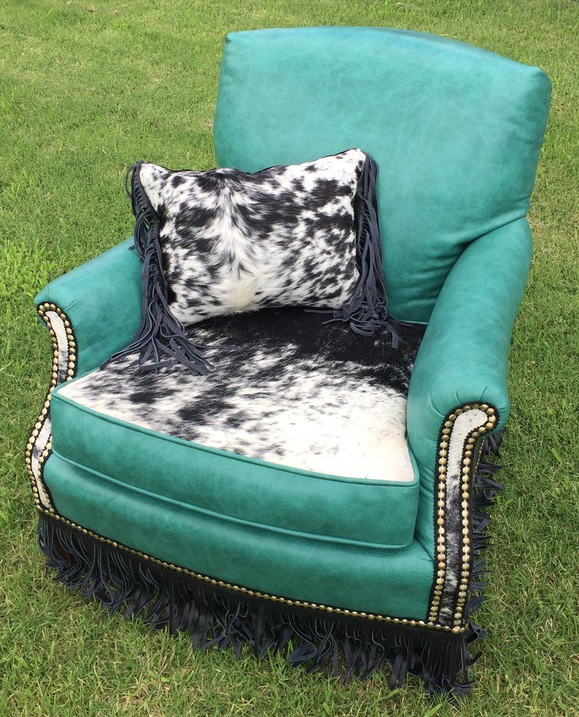 Best Sold Teal Cowhide Leather Accent Chair Blue Velvet 400 x 300