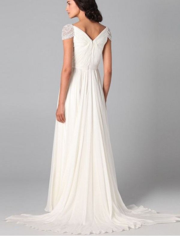 Chiffon Curved Neckline Simple Wedding Dress with Beaded Cap Sleeves ...